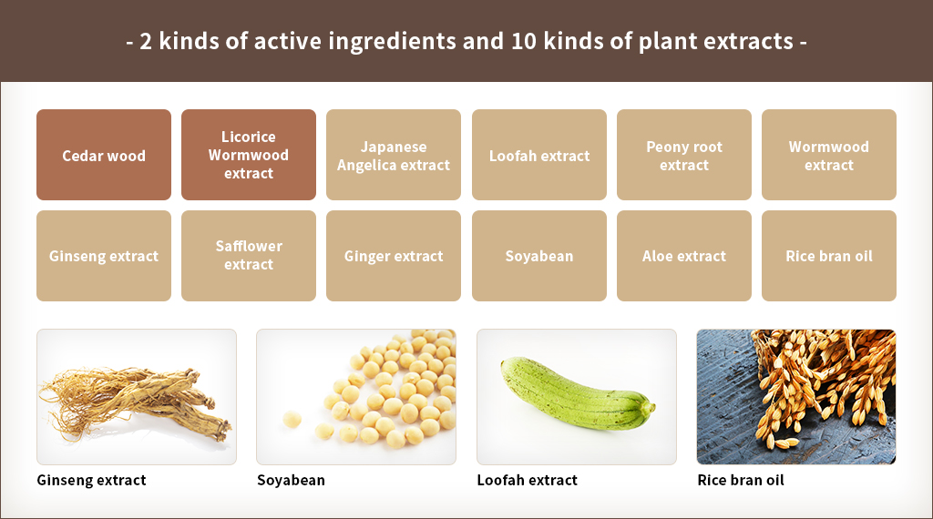2 kinds of active ingredients and 10 kinds of plant extracts
